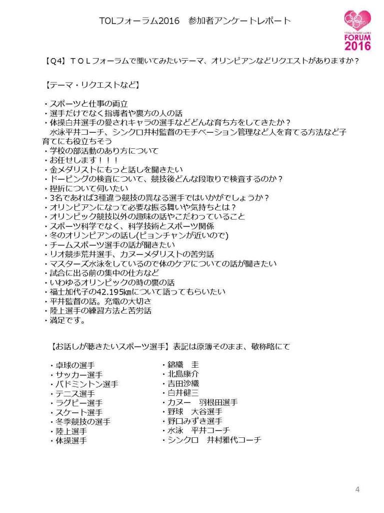 TOLフォーラム2016 参加者アンケートレポート4