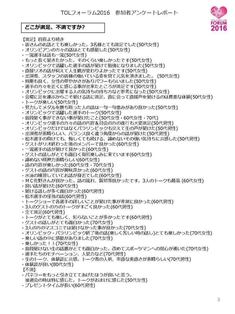 TOLフォーラム2016 参加者アンケートレポート3